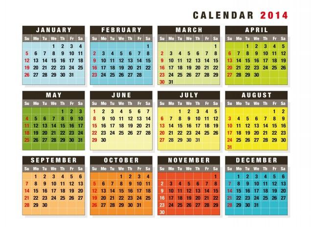 Colour Calendar-2014